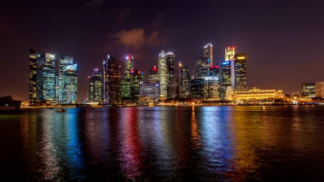 Dusk to night view across Marina Bay
