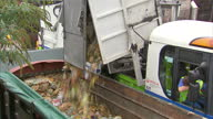 Dustcart drives onto Council Recycling Site and dumps waste rubbish into large waste container Richmond Council recycling dump food waste on October...