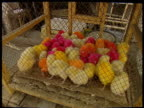 Dyed chicks in a cage