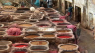 MS, HA, Dyeing vats at tannery, Fez, Morocco