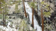 MS AERIAL POV Eagle Falls cascading over rock with pine trees and snow / California, United States