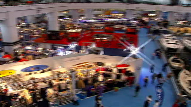 Earls Court Boat Show INT Tony Bullimore interview SOT Yachts and boats on display at boat show Power boats and yachts on display Reporter to camera