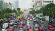 Early Afternoon traffic on Rachadamri Street, Bangkok, Thailand