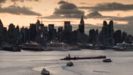 Early morning skyline of New York City.  Taken from West New York New Jersey.