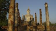 Early Sun shining on Wat Mahathat at the Historical Park, Sukhothai Historical Park, Thailand