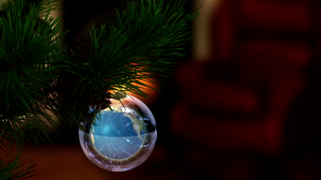 Earth Globe as Christmas Ornament