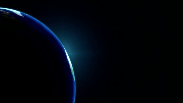 Earth in space with sunrise