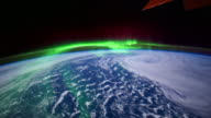 Earth view from Space Showing Aurora Borealis