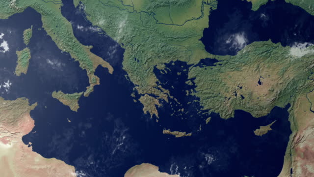 Earth  zoom centered on southern Italy (with alpha matte)
