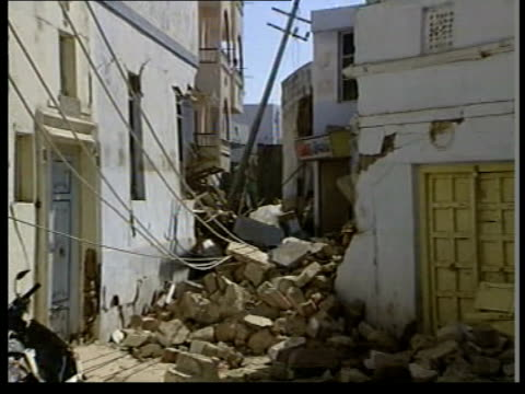 Earthquake death toll rises ITN TOCO SATELLITE REPORT Gujarat Bhuj Devastated town at epicentre of India's worst earthquake in fifty years AIR VIEW...