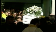 Funeral for victims ITALY San Giuliano di Puglia EXT Coffin of child killed during collapse of school during earthquake placed with others at funeral...