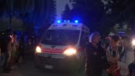 Earthquake strikes town of Amatrice and surrounding area At least 120 killed as death toll rises Amatrice Ambulance along with lights flashing Man...