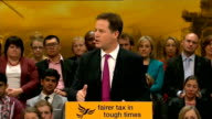 East Sussex Brighton INT Nick Clegg MP onto stage to applause at Liberal Democrat Party Conference SOT Nick Clegg MP speech SOT Be in no doubt if we...