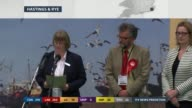 SPECIAL 0400 0500 East Sussex Hastings Jane Hartnell announcing results SOT Amber Rudd MP retains seat
