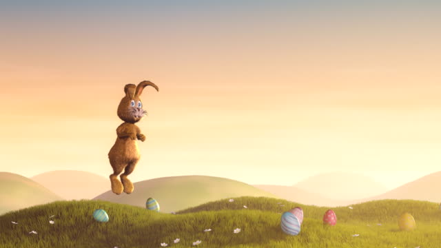 Easter bunny jumping and waving
