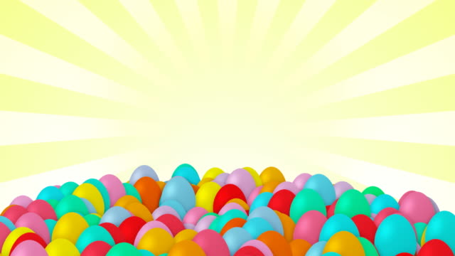 Easter eggs falling, copy space, loopable
