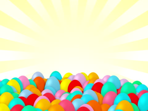 Easter eggs falling, isolated, alpha matte, copy space, loopable