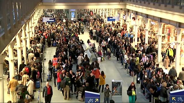 Passengers queuing at St Pancras International ENGLAND London St Pancras International Station INT General views of passengers queuing for Eurostar...