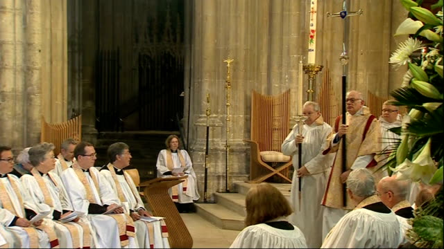 Archbishop of Canterbury gives Easter sermon ENGLAND Canterbury Canterbury Cathedral INT **Music heard SOT** Clergy in cathedral / clergy including...