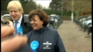 Maria Hutchings campaigning with Boris Johnson ENGLAND Hampshire Eastleigh EXT People along outside Asda supermarket / shopping trolleys being pushed...