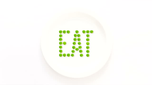 Eat written with peas