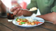 Eating in Thai restaurant