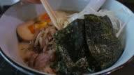 Eating Japanese Ramen Close up.