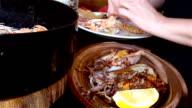 Eating shrimps
