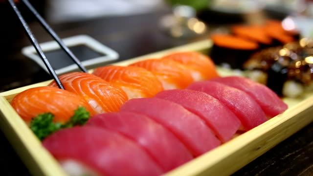 Eating Sushi.