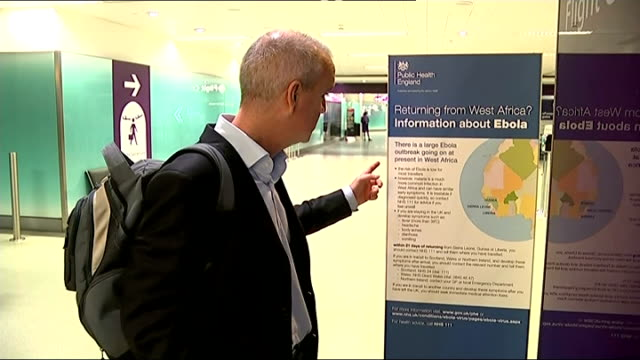 Screening checks begin at Heathrow airport ENGLAND London Heathrow Airport INT Secretly filmed footage showing ITV News reporter and other travellers...