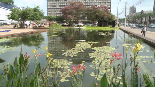 MS TU Ecological pool in front of Tel Aviv City Hall at Rabin Square / Tel Aviv-Yafo, Mechoz Tel-Aviv, Israel