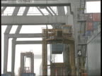 Hants Southampton Docks GV Automated dock equipment as container carried by crane PULL OUT MS 'Estoril' roll on roll off ferry in dock PAN RL as new...