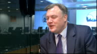 London INT Ed Balls MP interview SOT on inclusive prosperity / on Oxfam report / Ed Balls on stage to give speech at Financial Times and introduced...