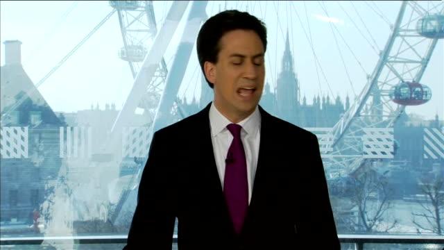 Ed Miliband and Ed Balls prebudget press conference ENGLAND London INT Ed Miliband and Ed Balls to podiums at joint press conference Ed Miliband MP...