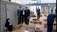 Ed Miliband and Ed Balls visit Futures Community College in Southend Miliband and Balls chatting to female students learning bricklaying SOT /...