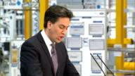 Ed Miliband announces apprenticeships plan in business speech Wolverhampton Jaguar Land Rover Plant INT Various shots of Miliband speaking at podium