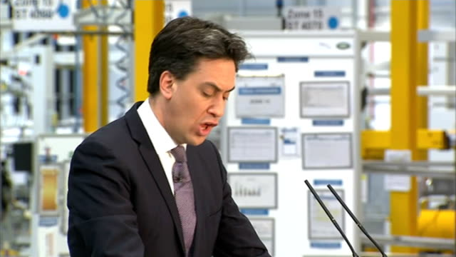 Ed Miliband announces apprenticeships plan in business speech Wolverhampton Jaguar Land Rover Plant INT Various shots of Miliband speaking at podium