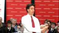 Ed Miliband attends QA session in Motherwell SCOTLAND Motherwell INT Ed Miliband MP Johann Lamont MSP and Margaret Curran MP arriving to applause SOT...