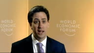 Ed Miliband interview in Davos SWITZERLAND Davos INT Ed Miliband MP interview SOT [On RBS Chief Executive Stephen Hester's bonus] This is a...
