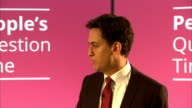 Ed Miliband People's Question Time in Plymouth ENGLAND Devon Plymouth Plymouth Argyle Football Club EXT Ed Miliband MP along as arriving / Meeting...