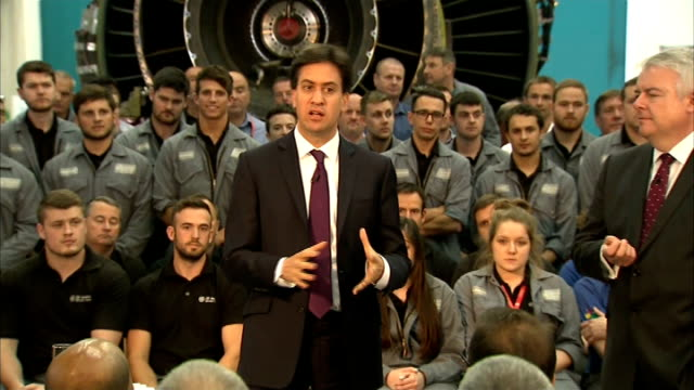 Ed Miliband Q and A session in Cardiff WALES Cardiff Nantgarw GE Aviation Aviation workers seated seats / Ed Miliband MP Carwyn Jones AM and Owen...