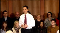 Ed Miliband speech and Q and A session ENGLAND Sussex Brighton Hove INT Ed Miliband MP along into room Ed Milband speech SOT Thank you for coming...