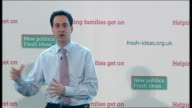 Ed Miliband speech on govt betraying young people Ed Miliband speech continued SOT Our party has to stand as party that says we believe making the...