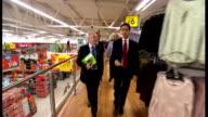 Ed Miliband visits Asda supermarket in Clapham Ed Miliband and Chuka Umunna MP entering Asda store and chatting to Asda workers SOT / Miliband and...