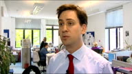 Ed Miliband visits DEC headquarters Ed Miliband MP interview SOT On the work of the DEC / need for other European governments to stump up money too /...