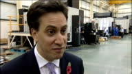 Ed Miliband visits Manthorp Engineering firm Ed Miliband MP interview SOT Too little too late by government / We have a perfect storm in our economy...