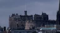 Edinburgh Castle dominates the cities skyline. Available in HD.