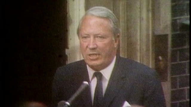 Wiltshire police force criticised 1961970 London Downing Street EXT Edward Heath MP speaking to press SOT The Queen has asked me to form the next...