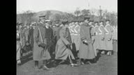 Edward Prince of Wales reviews cadets at the United States Military Academy at West Point NY with Superintendent Douglas MacArthur / side view Prince...
