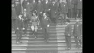 Edward Prince of Wales walks down steps of City Hall in New York City with Mayor John Francis Hylan and New York politician Grover Whalen Prince...